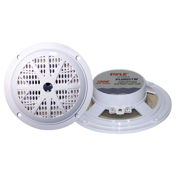 "2) PYLE PLMR51W 5.25"" 100W 2-Way Waterproof Marine/Boat/Car Audio Speakers White"