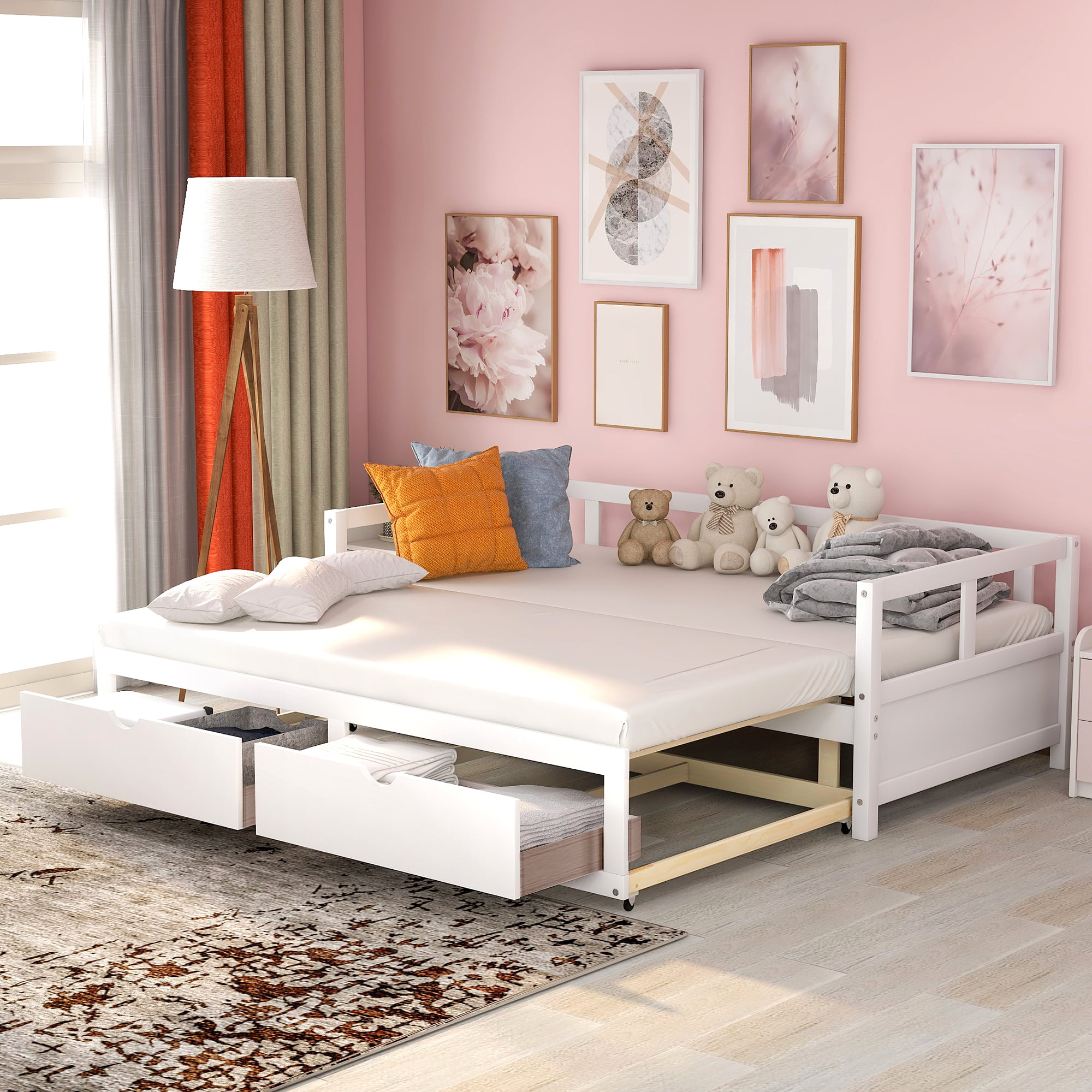 Wooden Daybed With Trundle Bed And Two Storage Drawers Extendable Bed Daybed Sofa Bed For Bedroom Living Room White Walmart Com Walmart Com
