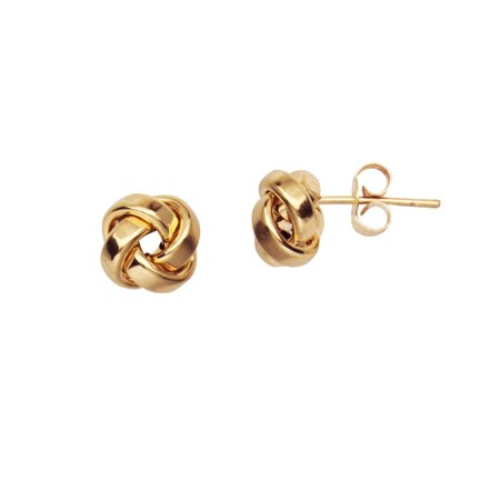 14k Yellow Gold Love Knot Stud Earrings 10mm Square Tube with Shiny Finish