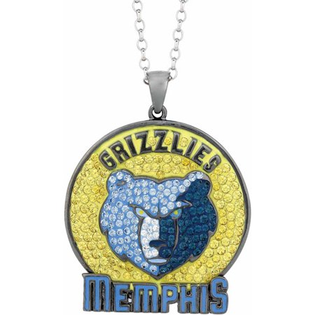 "NBA Mens Swarovski Crystal Stainless Steel Memphis Grizzlies Medallion Pendant, 24"" by"