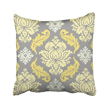 - WinHome Decorative Yellow and Gray Floral Pattern Throw Pillow Case Covers Flower Design Home Sofa Decorative Size 18x18 inches Two Side