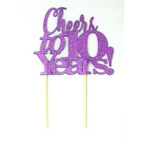 All About Details Cheers to 10 Years! Cake Topper, 1PC, 10th anniversary, retirement  (Purple)