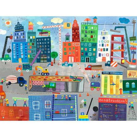 Oopsy Daisy - Construction Zone Canvas Wall Mural 42x32, Jill McDonald