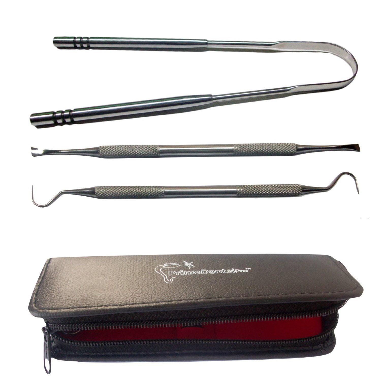 PrimeDentalPro Tongue Scraper and Dental Tools Kit Stainless Steel Set