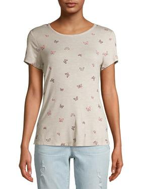 No Boundaries Juniors' Printed Scoop Neck T-Shirt