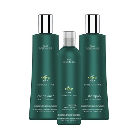 Regis DESIGNLINE - OLIVE OIL TRIO KIT - Shampoo & Conditioner Treatment Restores Dry and Damaged Hair without Build-Up and Protects Against Damage, Dryness, and Color Fading (3