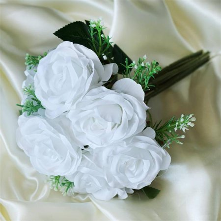 - Efavormart 4 Realistic Looking Fabric Flower Bouquet for DIY Wedding Bouquets Centerpieces Arrangements Baby Shower Home Decoration