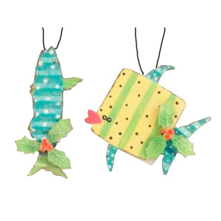 teal baracuda and yellow whale metal fish holiday ornaments - Fish Christmas Ornaments
