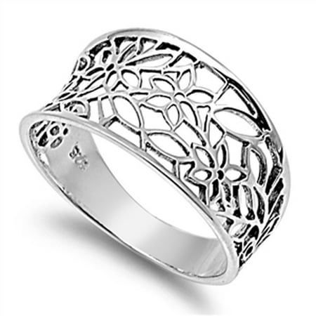 Sterling Silver Women's Vintage Filigree Thumb Flower Leaf Ring (Sizes 3-13) (Ring Size (Russian Filigree Ring)