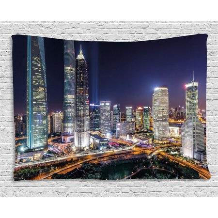 Urban Tapestry, Skyline Illuminated Skyscrapers in Modern City at Night Architectural Cityscape Photo, Wall Hanging for Bedroom Living Room Dorm Decor, 80W X 60L Inches, Multicolor, by Ambesonne