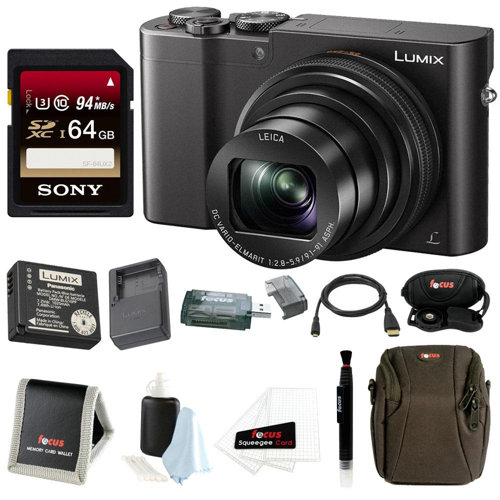 Panasonic Lumix DMC-ZS100 Digital Camera (Black) w/ DMW-ZSTRV Travel Bundle (EXTRA Battery & Charger) & 64GB Accessory Bundle