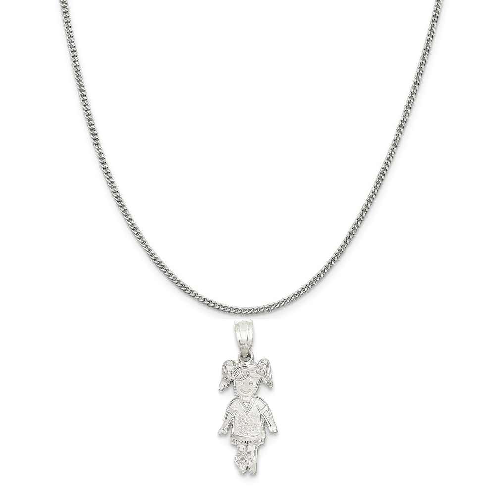 """Sterling Silver Sports Girl Charm on a Sterling Silver Curb Chain Necklace, 16"""""""