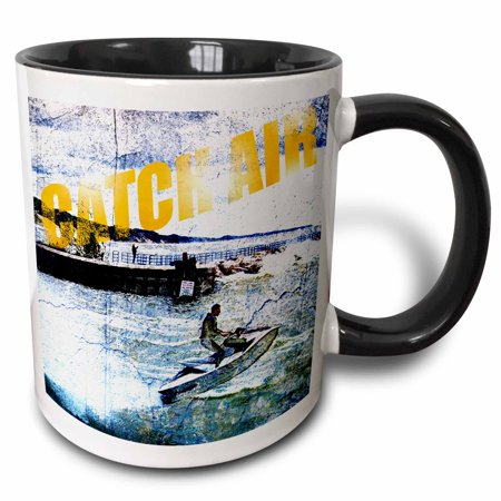 3dRose Catch Air summer scene jet skier jumping waves with rough grunge design element - Two Tone Black Mug, 11-ounce