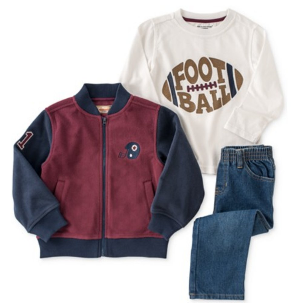 Kids Headquarters Infant Boys 3 Piece Football Outfit Pants Shirt & Jacket