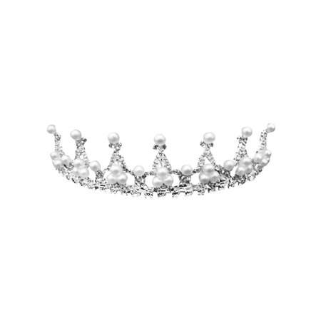 Simplicity Kid's Wedding Party Tiara w/ Pearl Crystal Rhinestones Silver (Pearl Tiara)