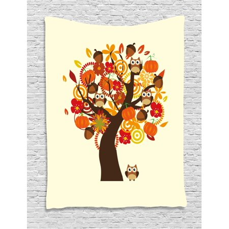 Kids Thanksgiving Tapestry, Abstract Fall Tree with Flowers Acorns Pumpkins and Owls Generous Nature, Wall Hanging for Bedroom Living Room Dorm Decor, 40W X 60L Inches, Multicolor, by Ambesonne - Owl Pumpkin