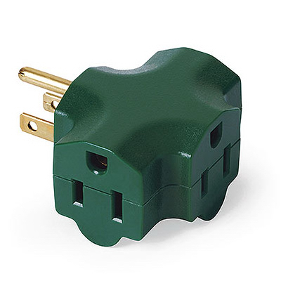3-outlet Adapter, Indoor, Green, KAB, KAB3FT-1