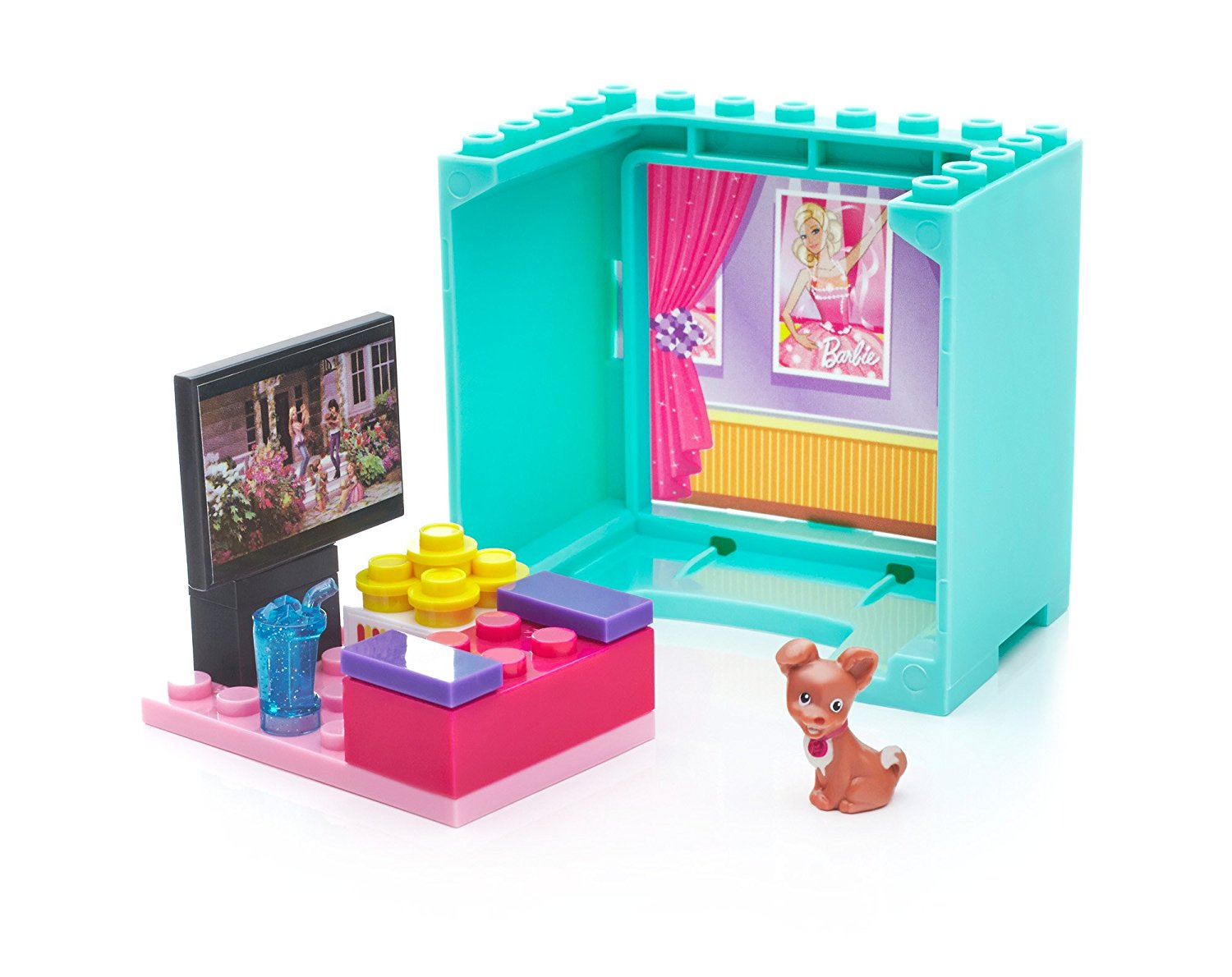 Barbie Movie House Chihuahua Building Set, Platform with buildable home theatre By Mega... by