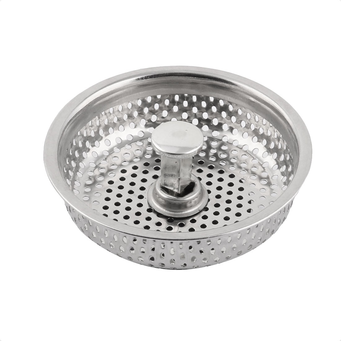 Kitchen Stainless Steel Basin Drain Plug Sink Strainer Filter Silver Tone Black