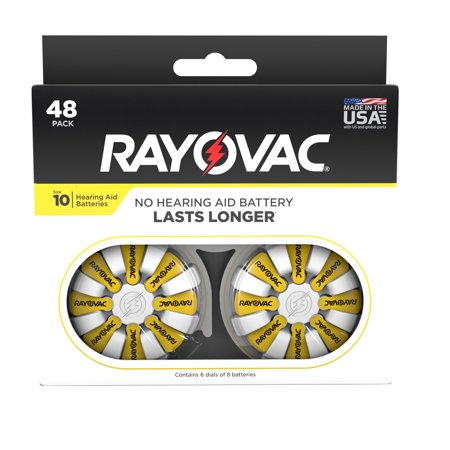 Rayovac Size 10 Hearing Aid Batteries, 48-Pack