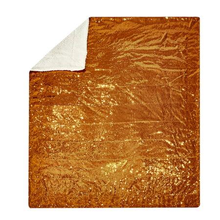 Mainstays Sparkle Sequin Decorative Throw Blanket, Bronze ()