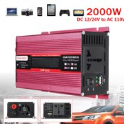 2000W Car Solar Power Inverter Modified Sine Wave DC 12V/24V To AC 110V Converter Usb Charger Household Home Appliance Car Accessories