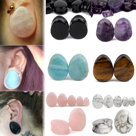 Horn Flesh Tunnel - Girl12Queen 1 Pair 5-25mm Teardrop Natural Stone Flesh Tunnels Egg Shaped Ear Gauges Plugs