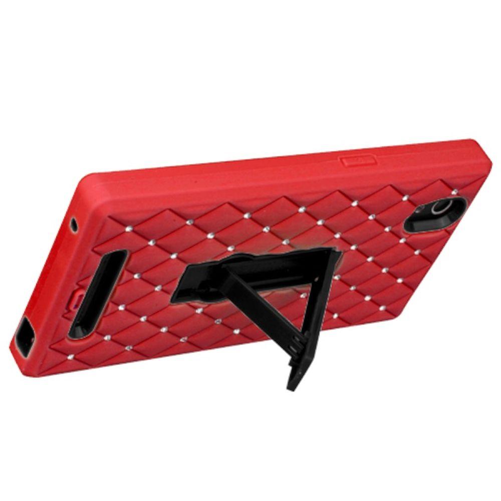 Insten Symbiosis Skin Dual Layer Rubber Hard Cover Case w/stand/Diamond For ZTE ZMax - Red/Black - image 2 de 3