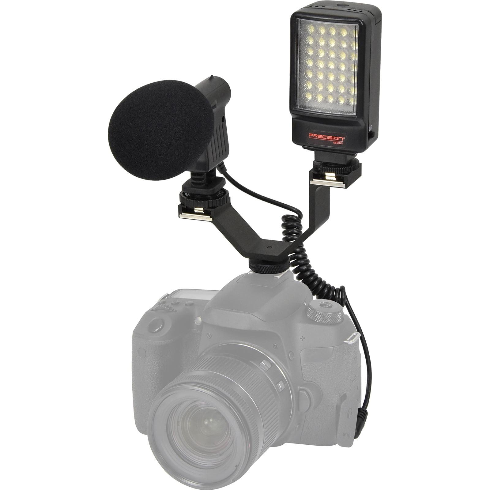 Precision Design Digital Camera / Camcorder LED Video Light with Bracket + Microphone + Dual Shoe Bracket Kit