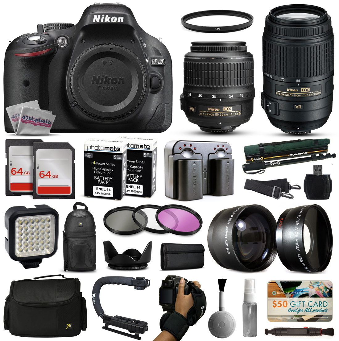 Nikon D5200 DSLR Digital Camera with 18-55mm VR + 55-300mm VR Lens + 128GB Memory + 2 Batteries + Charger + LED Video Light + Backpack + Case + Filters + Auxiliary Lenses + $50 Gift Card + More!