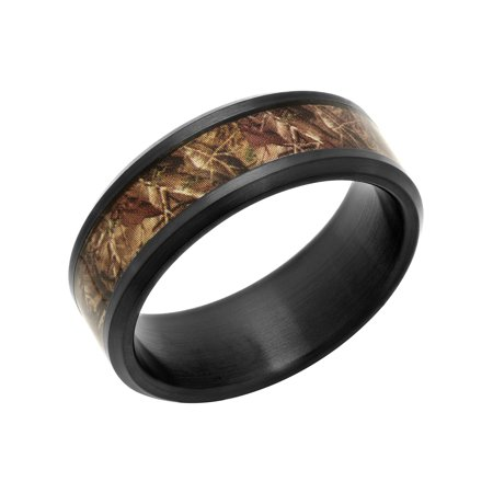 Men's Black IP Stainless Steel 8MM Camo Inlay Wedding Band - Mens Ring](Orange Camo Wedding Rings)