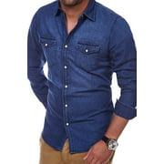 Men Long Sleeve Jean Shirt Denim Polo T-Shirt