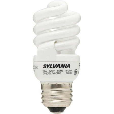 Sylvania 10W CFL Micro-Mini Twist Lightbulbs, 2 Pack 10w Frosted White Socket
