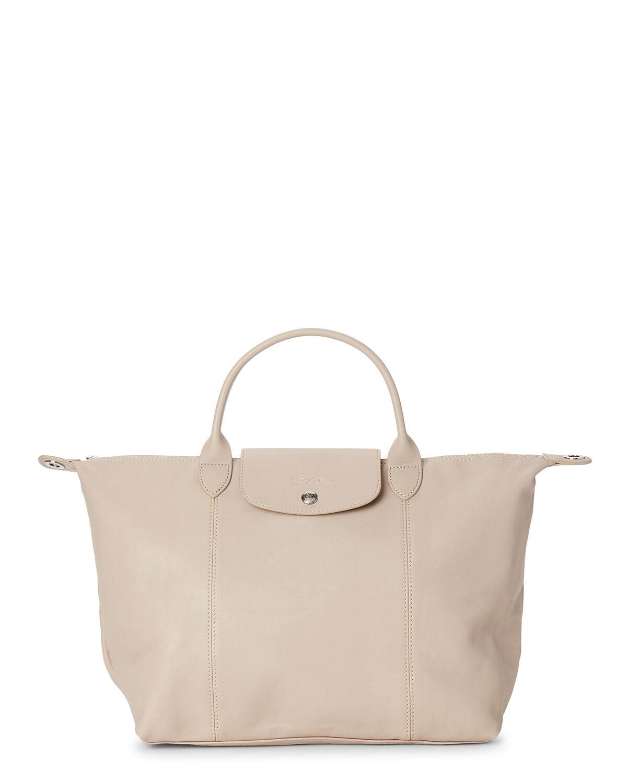 LongChamp Women's Le Pliage Cuir Beige Leather Top Handle Leather Tote  Handbag Medium - Walmart.com