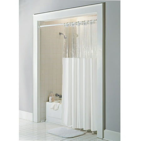 Bone Ivory Vinyl Windowed Shower Curtain Liner Clear Top Stall Size 54