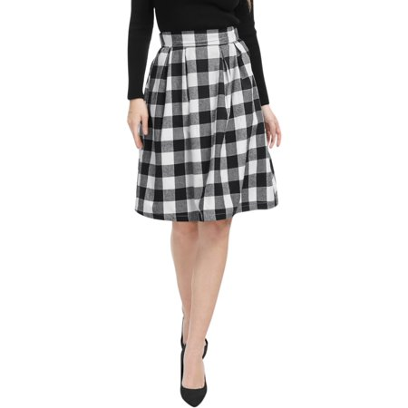 Women Inverted Pleats A-line Check Print Knee Length Skirt Check Pleated Skirt