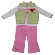 Baby Girls White Lime Elmo Applique Vest Shirt 3 Pc Pant Set 12-24M
