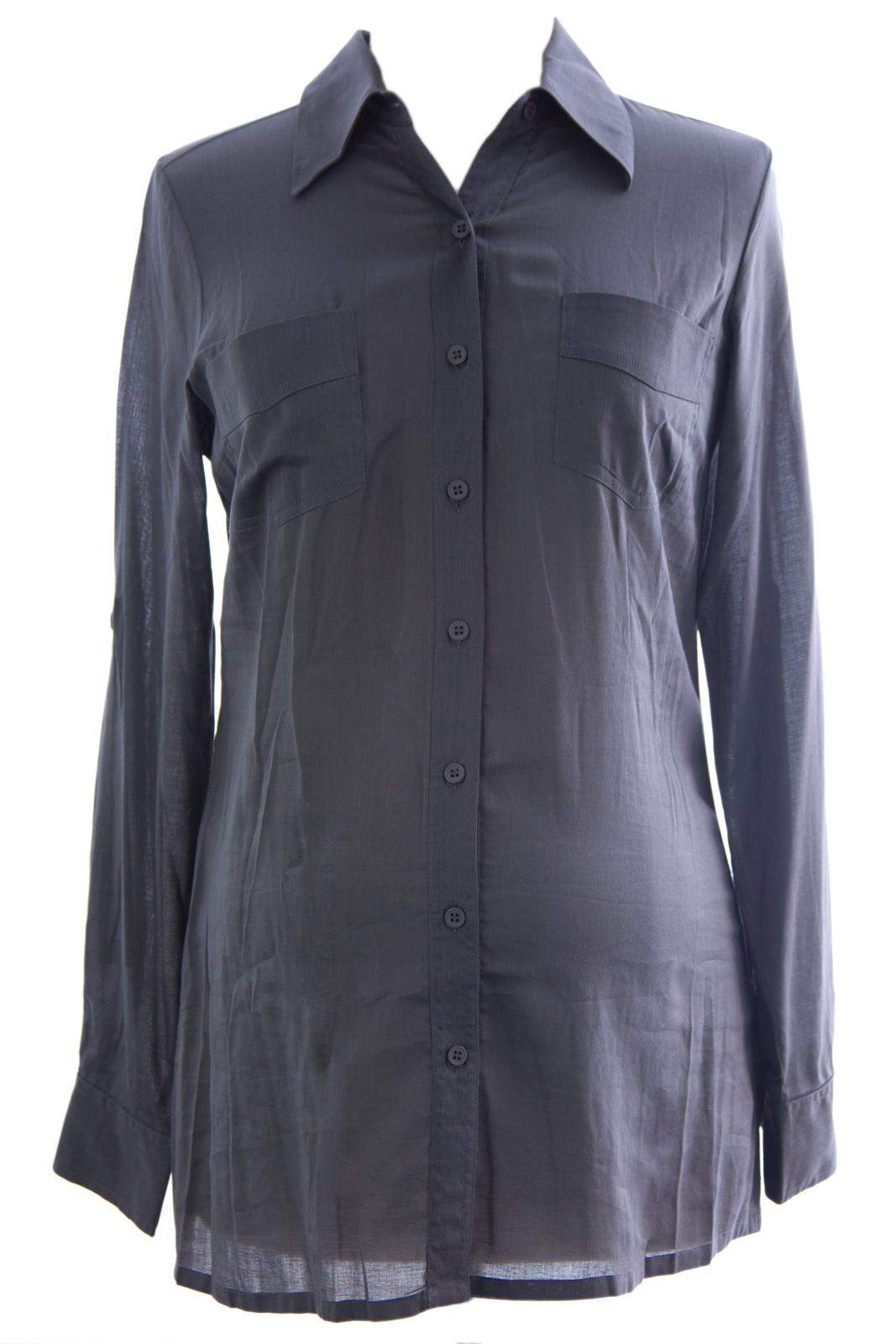 OLIAN Maternity Women's Button Down Cotton Blouse Sz X-Small Smoke Grey