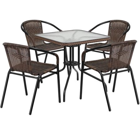Bowery Hill 5 Piece Square Patio Dining Set in Black and Brown ()