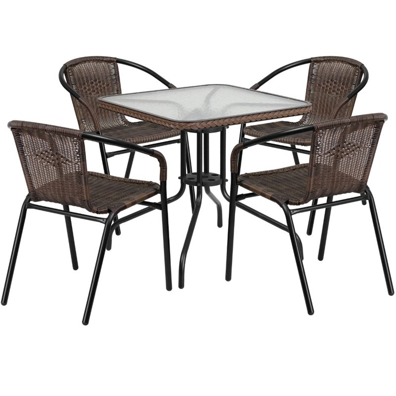 Bowery Hill 5 Piece Square Patio Dining Set in Black and Brown