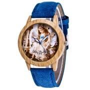 FAGINEY Zhoulianfa Quartz Cute Girl  Picture Denim Strap Wooden Outer Ring Watch, Wood Watch, Casual Watch