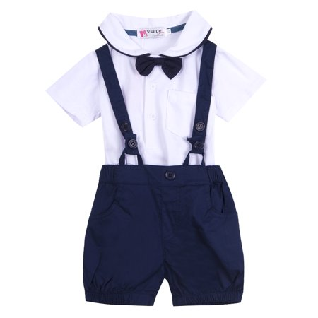 3PCS Newborn Baby Gentleman Boy Outfit Set Suit T-shirt With Overall Bib Pant Bow Tie White Blue 12-18M