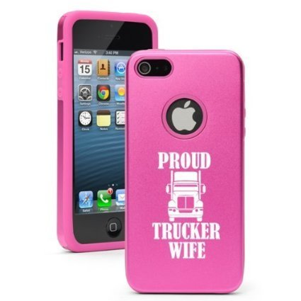 Apple iPhone 6 6s Shockproof AS Aluminum & Silicone Hard Soft Case Cover Proud Trucker Wife (Hot Pink),Daylor