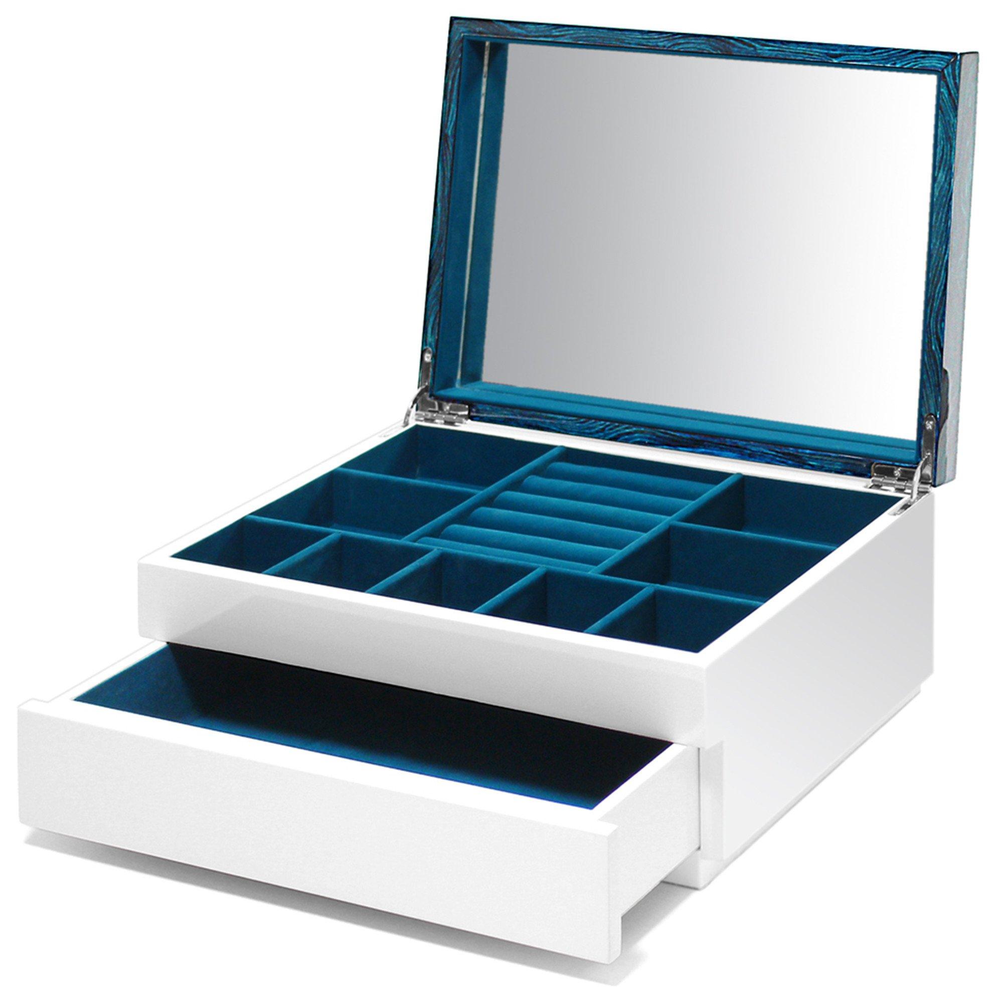 Swing Design Aura Lacquer Jewelry Box 1-Drawer Aquamarine