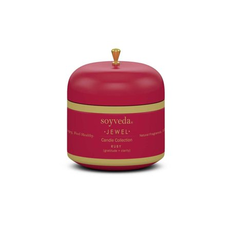 Set of 4 SoyVeda Jewel Ruby Red Scented Travel Tin Candle 3.75