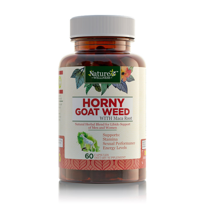 Nature's Wellness Horny Goat Weed with Maca Root Supplement - 60 Capsules