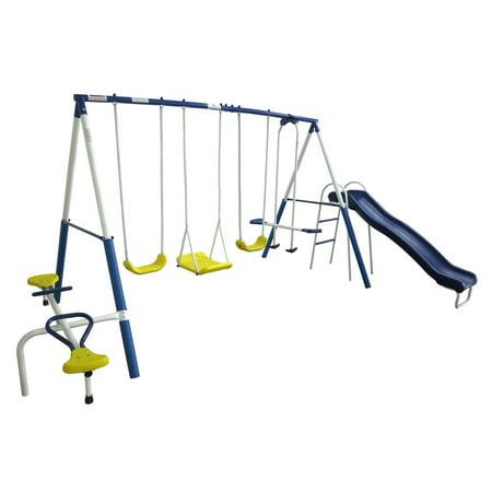 XDP Recreation Playground Galore Outdoor Backyard Kids Play Swing Set with Slide (Zoology Slide Set)