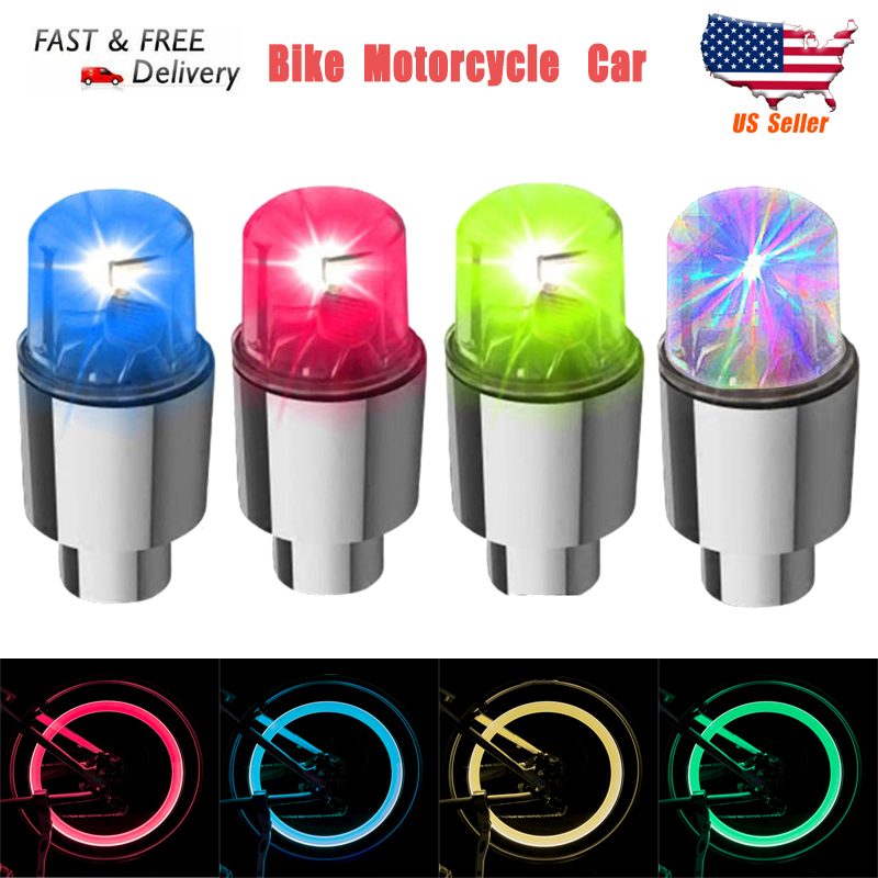 4Pcs Car Wheel Tire LED Lights Motorcycle Lamps Neon Cap Spoke Waterproof Bike