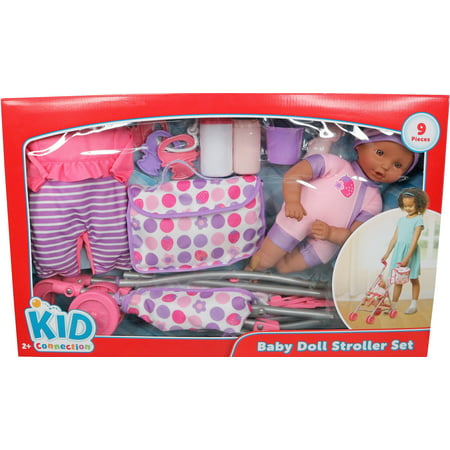 Kid Connection Babydoll And Stroller Playset African