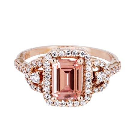 2 Carat Emerald Cut Real Peach Morganite And Diamond Halo Designer Engagement - Halo Suit Real Life